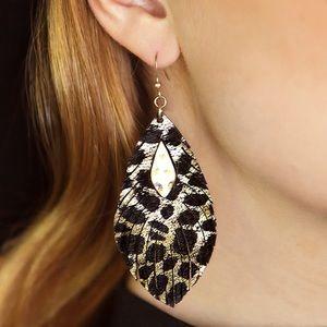 Metallic Animal Print Leather Dangle Earrings